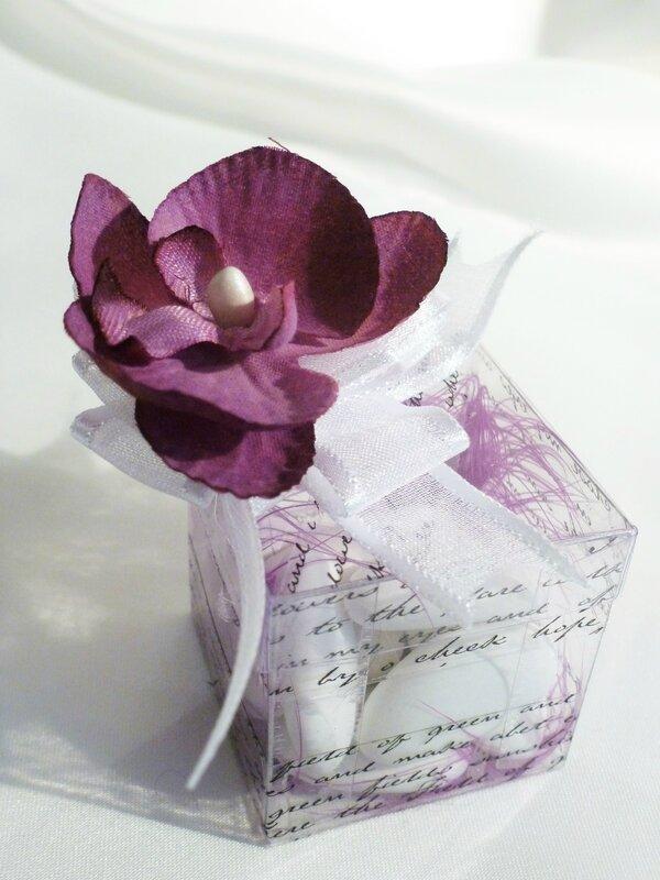boîte à dragées mariage violet