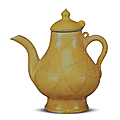 Yellow-enamelled unmarked pear-shaped ewer unearthed from the Xuande strata at the imperial kilns at Jingdezhen