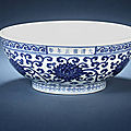A fine and rare blue and white 'dice' bowl. Yongzheng six-character mark in a line below the rim and of the period