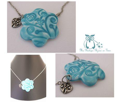 collier fleur céramique turquoise