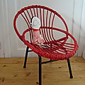fauteuil rotin osier rouge lobster
