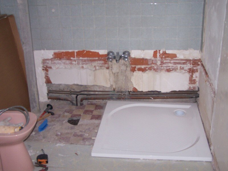 Pose du receveur de douche photo de 3 appartement - Comment poser un bac a douche extra plat ...