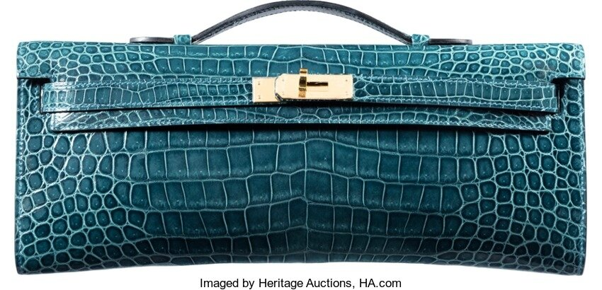 5461e7beed Hermès Shiny Colvert Porosus Crocodile Kelly Cut Clutch Bag with Gold  Hardware