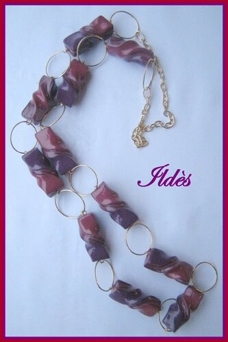 fimo collier farfales violet rouge 1