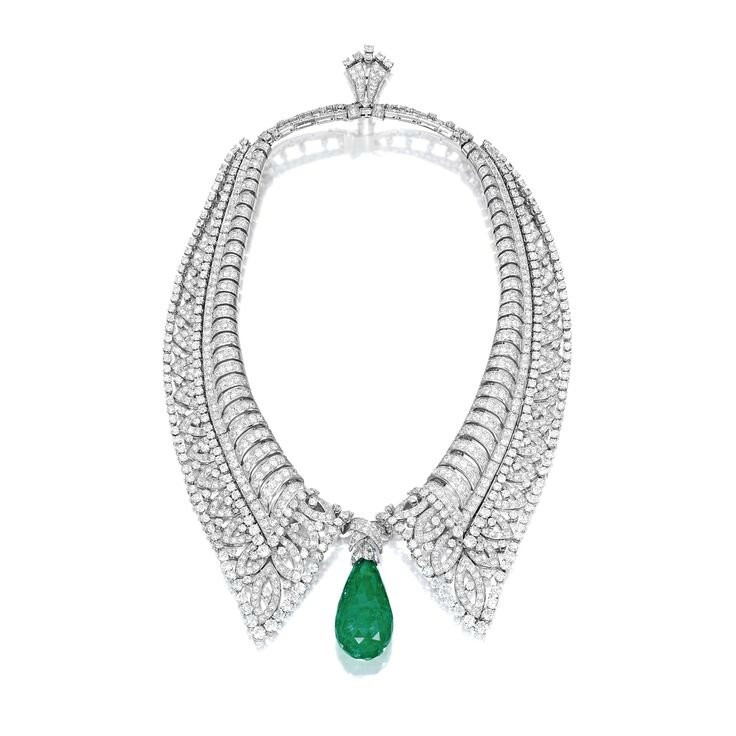 Emerald and Diamond Necklace, Boucheron, Circa 1930s