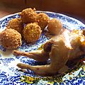 Cailles à l'orange et croquettes de pomme de terre au gingembre