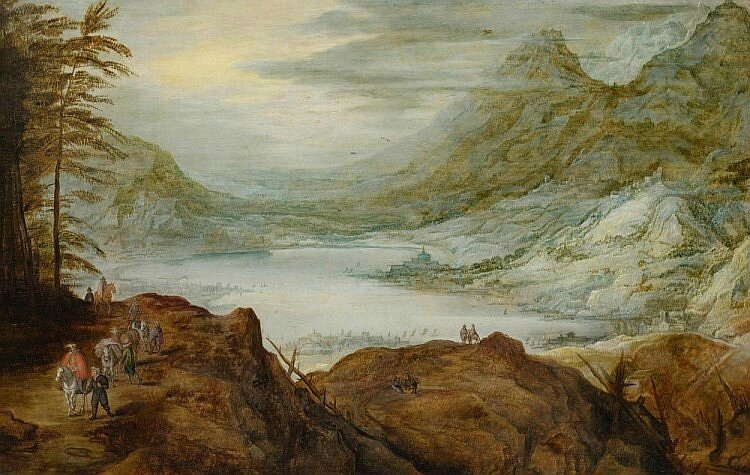 Joos de Momper (1564 Antwerp 1635), A vast mountain landscape with view of a lake and figures in the foreground