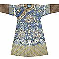 A kesi-woven blue silk ground dragon robe, late qing dynasty