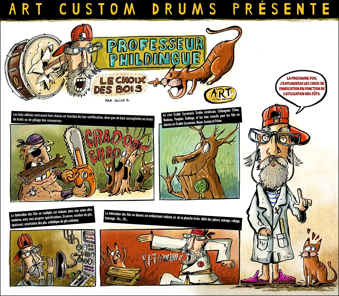 Premier strip pour le Fabricant Français de batterie Art Custom Drums. First Strip for Art Custom Drums