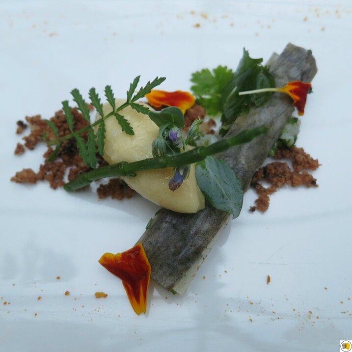 Tartare de couteau, sorbet au citron, sable cacao (1)