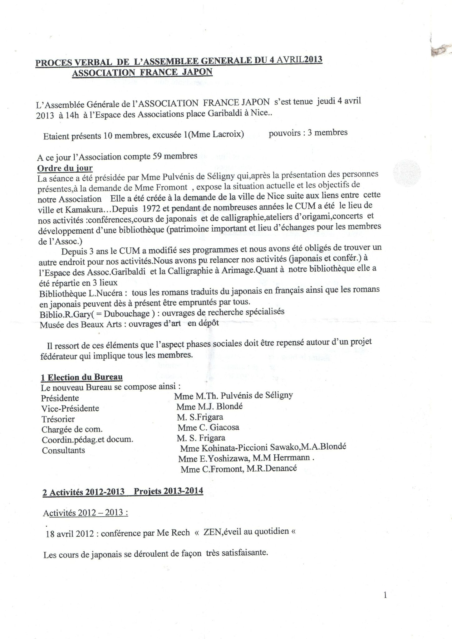 Proces verbal de l 39 assemblee generale du 4 avril 2013 - Proces verbal de reception de travaux ...