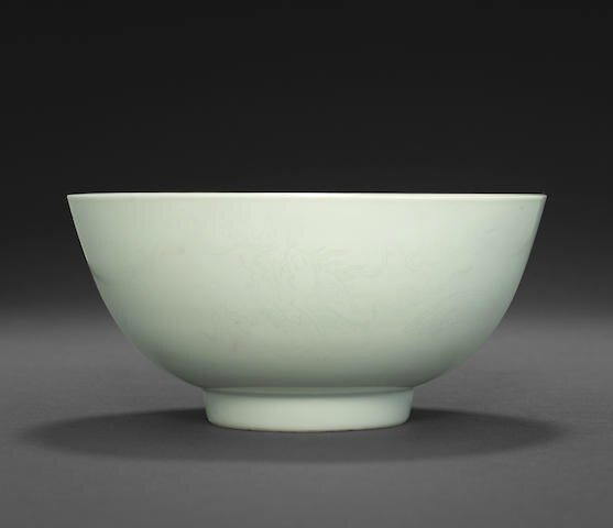 A rare anhua-decorated white bowl, Kangxi six-character mark and of the period