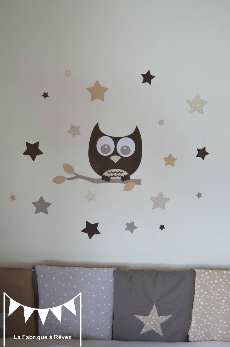 Stickers d coration chambre enfant b b hibou chouette toiles beige taupe craft chocolat 2 for Decoration chambre bebe hibou