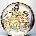 Sassanian silver gilt plate depicting a king wrestling a leopard, 5th-6th century c.e.