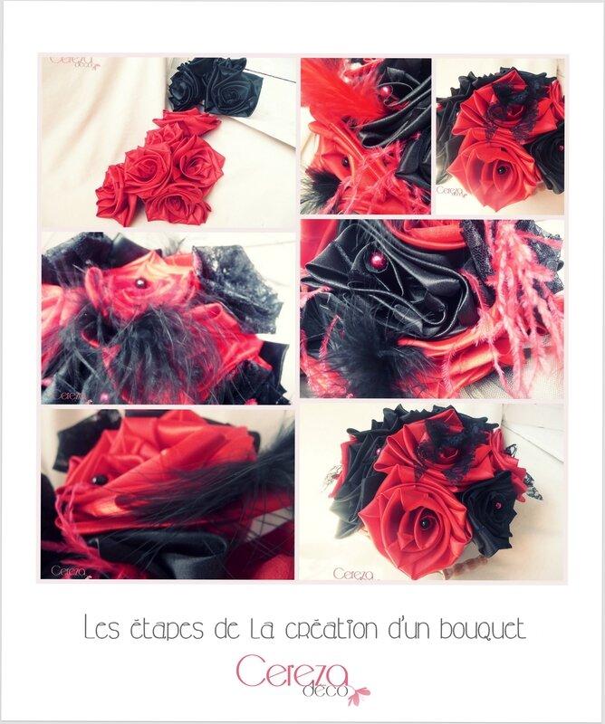 @ étapes de la création d'un bouquet de mariée cabaret chic noir rouge dentelles plumes mariage original cereza deco