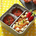 Bento mini cake à la tomate et semoule, légumes, thon saupiquet®