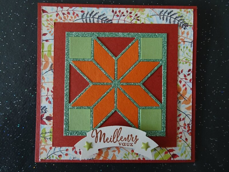 14b Carte Patchwork Ocre, Orange et vert