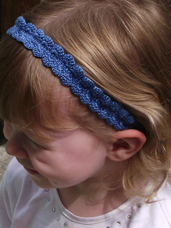Bandeau crochet coton mercerisé bleu foncé 4
