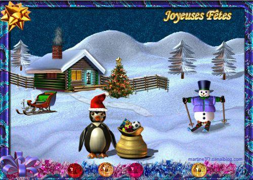011-carte-joyeux--noel-merry-xmas-pingouin-traineau-maison-sapin-neige-nuit