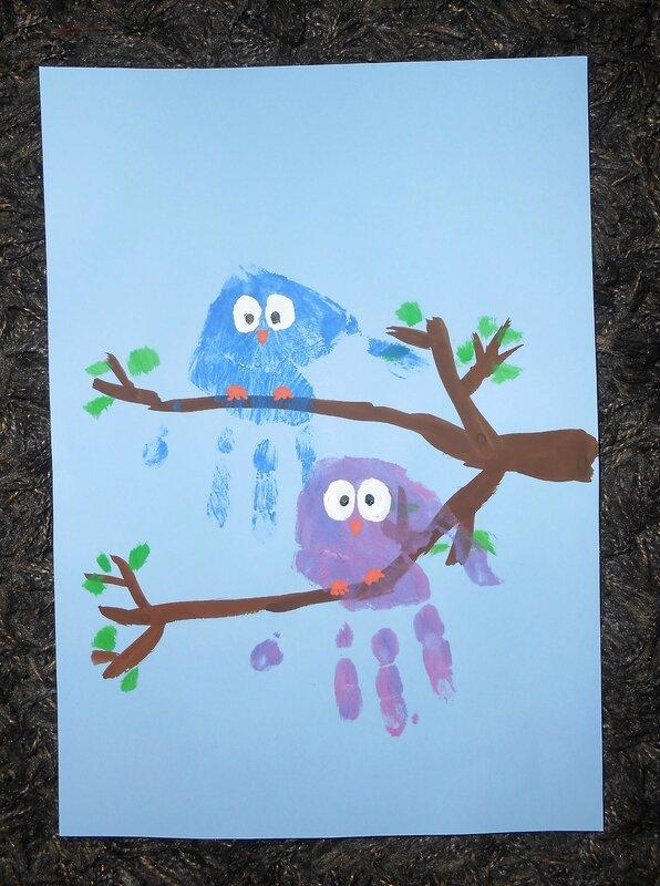 chouettes-hibou-enfant-enfants-bébé-activité-manuelle-peinture-empreintes-main-oiseau-rigolo-facile-simple