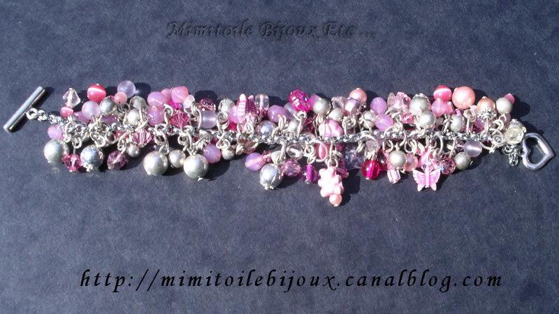 Bracelet rose aux mille breloques