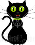59184_Royalty_Free_RF_Clipart_Illustration_Of_A_Creepy_Black_Cat_With_Green_Eyes_And_Fangs