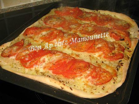 Pizza pâte mi-pain aux oignons et tomates mozza 015