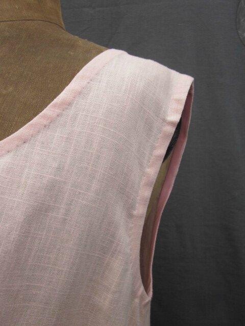 Robe EUPHRASIE en lin rose (5)