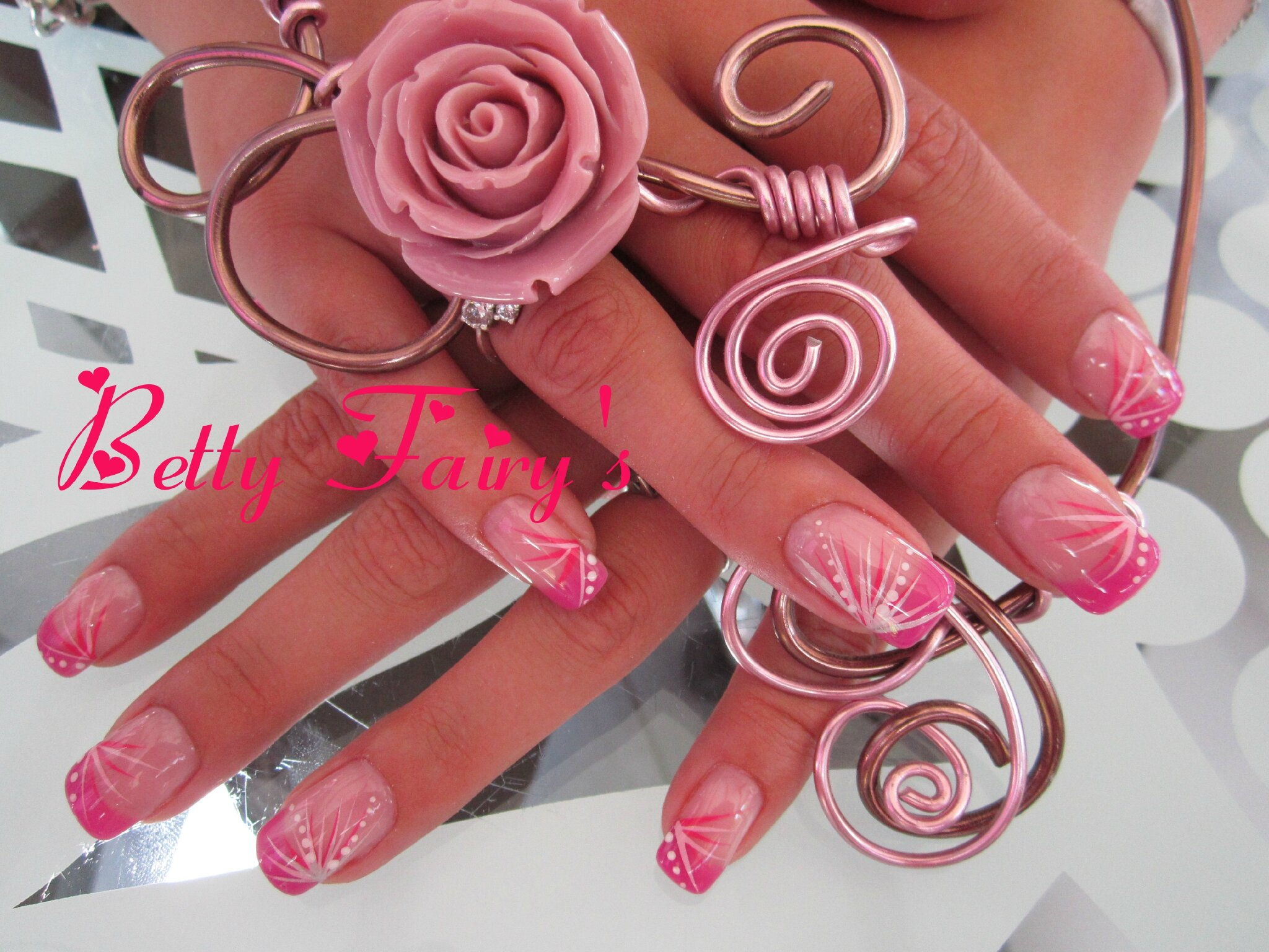 French thermo gel anthracite,rose, gel mask, feux dartifice framboise, rose pastel, argent et point blanc.