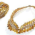 18 karat gold, citrine and diamond necklace and bracelet, sterlé, paris, circa 1950