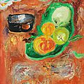 Lê phổ (1907 – 2001), still life with springtime fruits, 1960s
