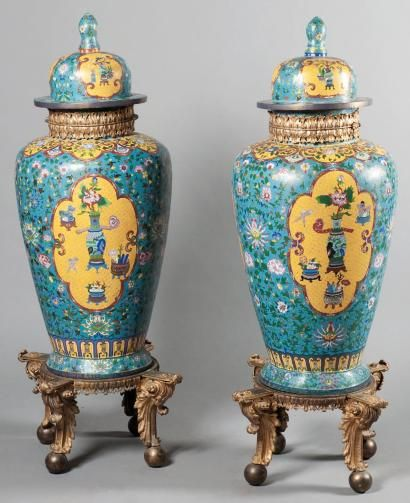 importante paire de vases cloisonn s couverts chine xixe si cle alain r truong. Black Bedroom Furniture Sets. Home Design Ideas
