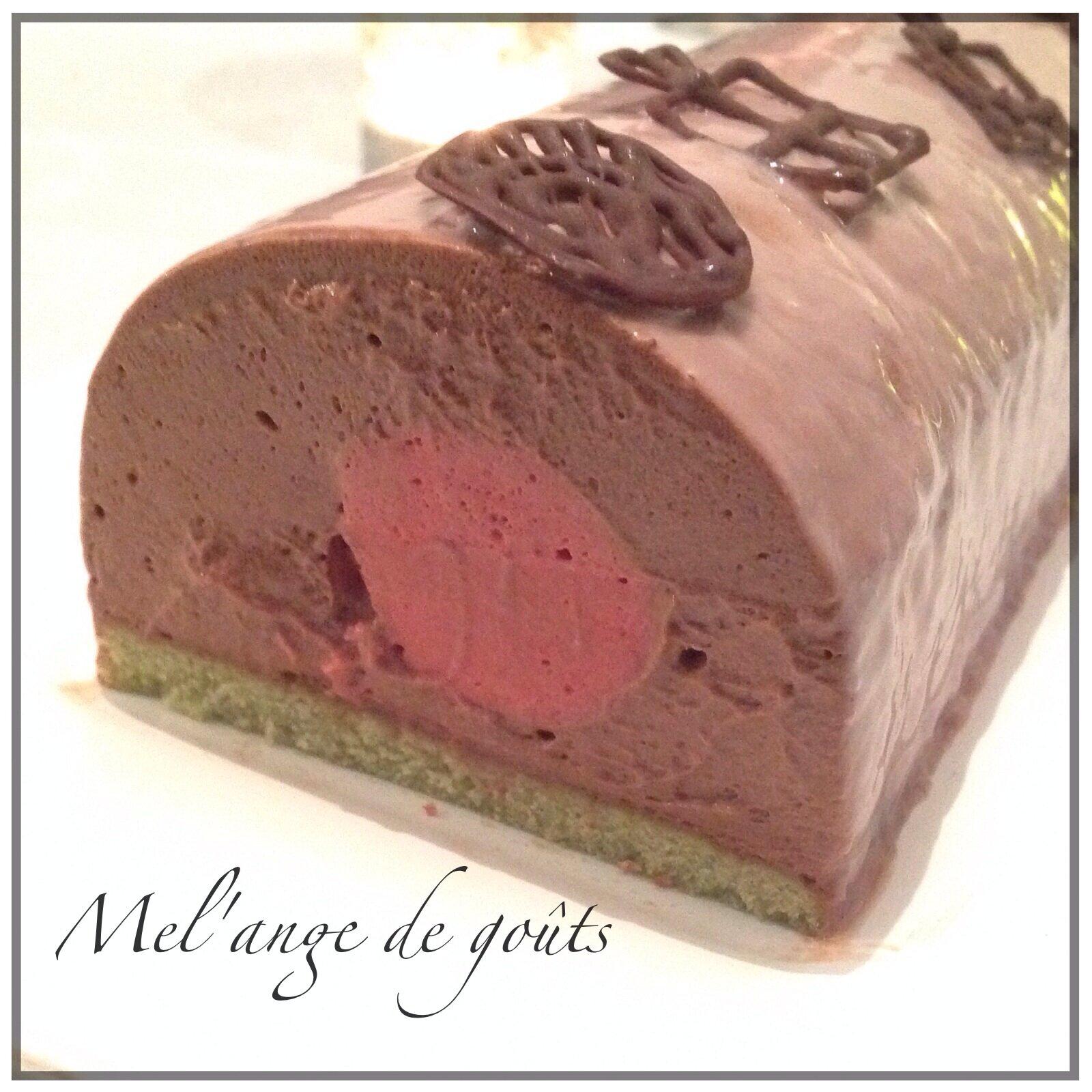 Buche Chocolat Framboise Biscuit Pistache Mel Ange De Gouts