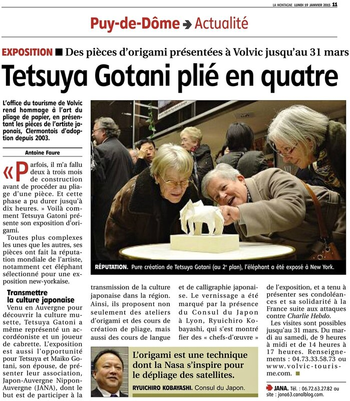 s-article de journal La Montagne expo origami Volvic 19012014