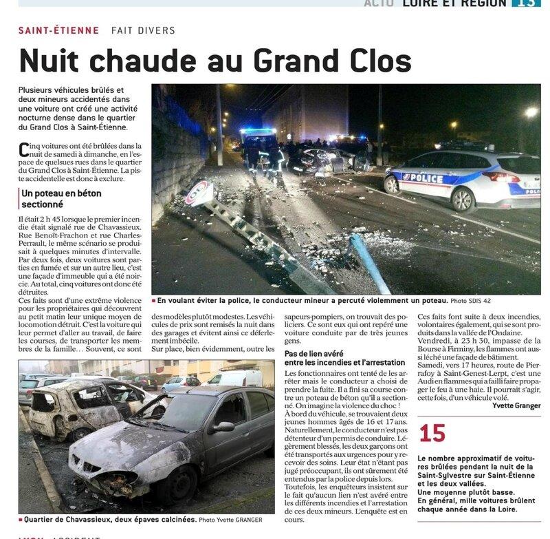 saint etienne stéphanois délinquance racailles grand clos voitures brulées