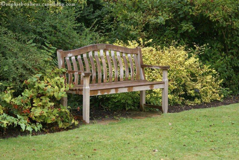 Retour de vacances aux petits bonheurs de sophie for Banc de jardin teck anglais