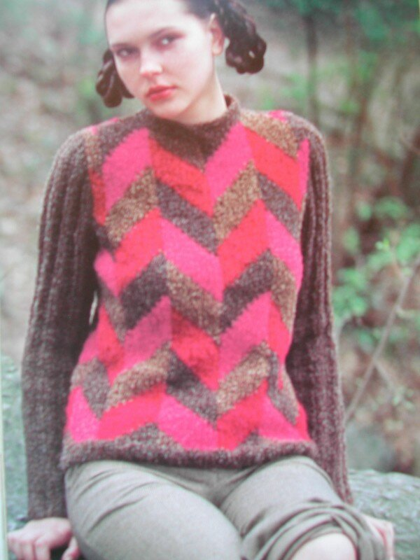 Large-Scale Herringbon Pullover
