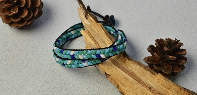 Pandahall Instruction on How to Make Leather Cord Wrap Bracelet with 2-hole Seed Beads (10)