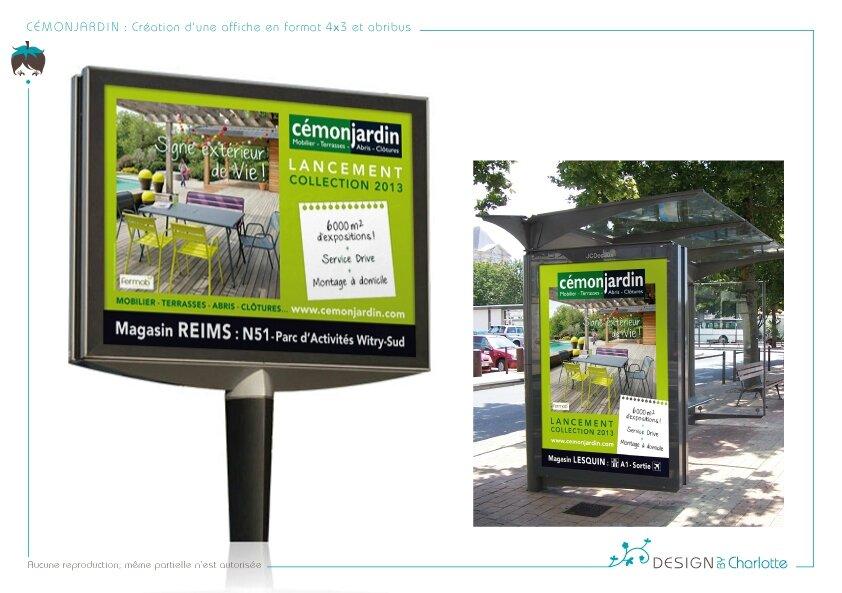C monjardin conception d 39 une affiche en format 4x3 et - Mobilier jardin witry les reims villeurbanne ...