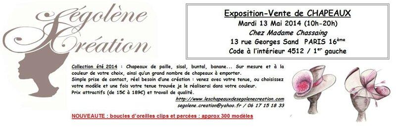 2014-05-13 Vente de chapeaux SEGOLENE CREATION Paris 16