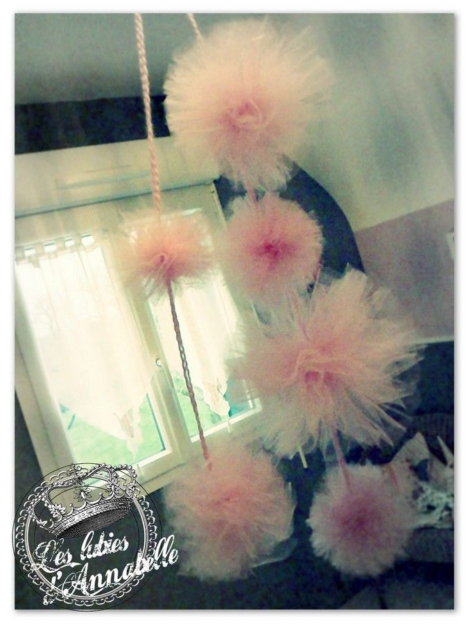 Pompoms_rose_en_guirlande