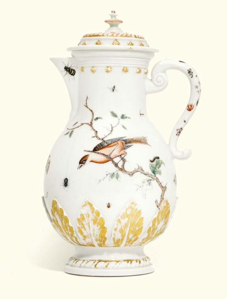 A Böttger porcelain Hausmaler coffee pot and cover, the porcelain circa 1713-15