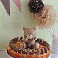 Gâteau de dragées pour baptême thème nounours
