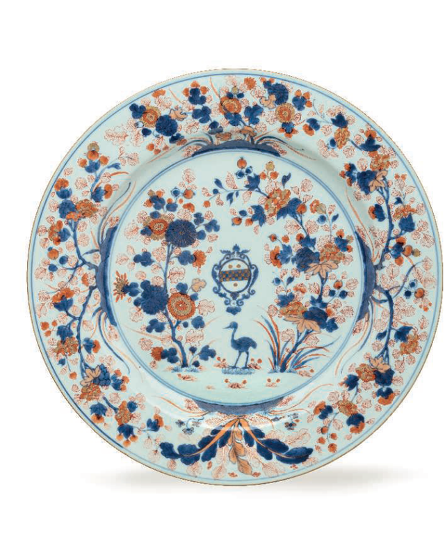 A very large pair of Chinese Imari armorial dishes, Kangxi period, circa 1705