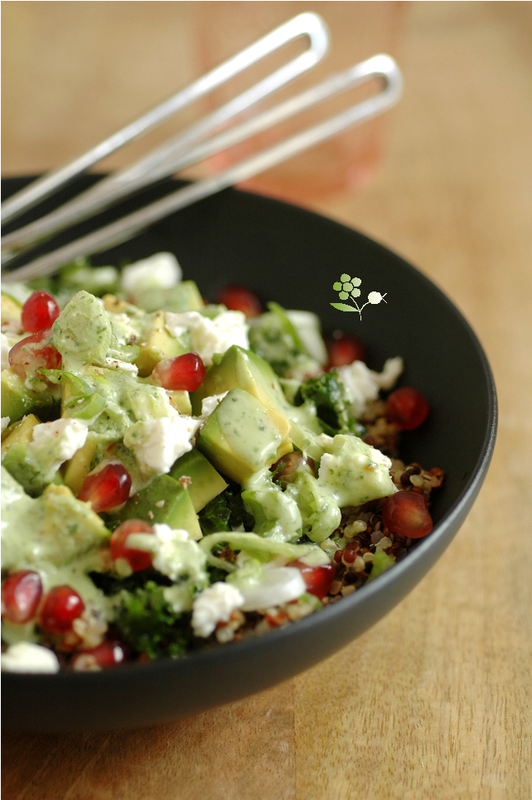 Salade quinoa, kale mariné, avocat, feta, grenade & sauce lait de coco-coriandre-curry vert_4