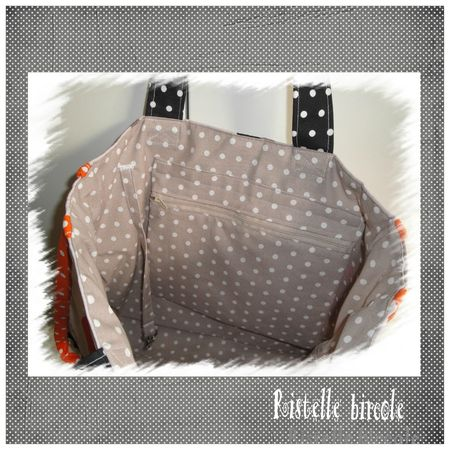 sac cabas orange taupe noir interieur