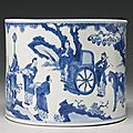 A blue and white brushpot (bitong), Qing dynasty, Kangxi period2