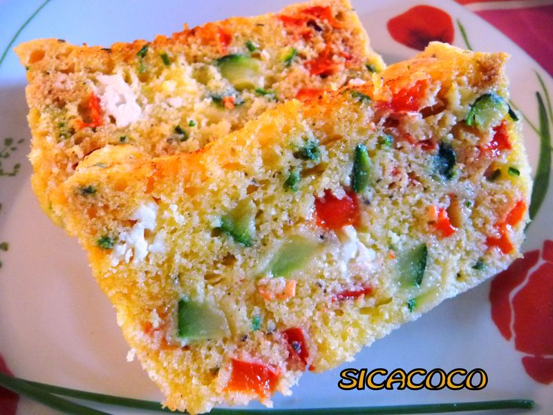 Cake Courgettes Poivrons Tomates