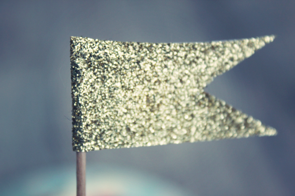 glitter birthday cake flag