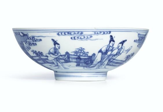 A blue and white Ming-style bowl, Mark and period of Yongzheng (1723-1735)